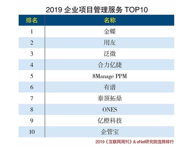 2019年企业项目管理服务Top5